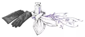 leather gloves and perfume